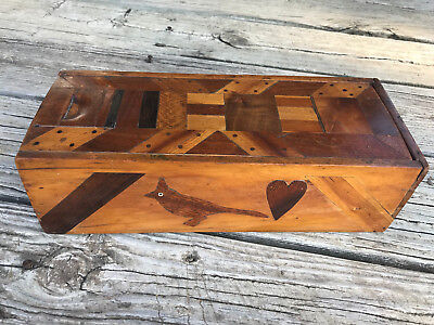 Antique Inlaid Picture Wooden Folk Art Candle Box