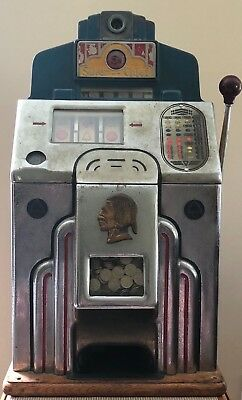 Jennings Silver Chief 5 Cent Slot Machine, Original Condition and Works