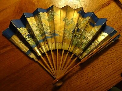 Vintage,used, Beautiful Gold,navy Blue Handpainted,66 Years Old, Asian Hand Fan