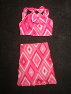 Barbie Doll Clothes~2-Pc Vtg 90'stop & Skirt~Hot Pink/white Geometric Print~Htf