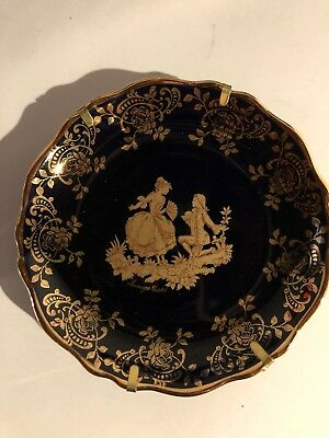 Brand New W/ Box Limoges Castel France Display Plate 22kt Gold Blue With Stand