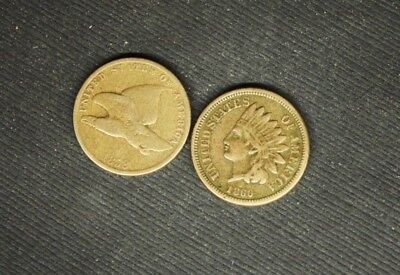 Flying Eagle 1858 / Indian Head Penny  1860.............9-17 - 28