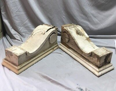 Large Pair Antique Victorian Style Roof Corbels Shelf Brackets Vtg Chic 48-18C