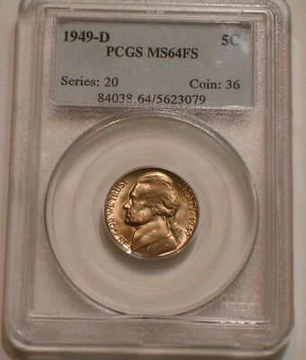 1949 D Jefferson Nickel PCGS MS 66 FS FULL STEPS frosty Superb GEM BU