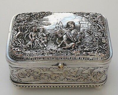 Vintage Antique Silver On Copper Repousse Footed Trinket Jewelry Box By Miller