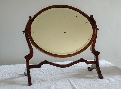 Mahogany mirror on stand with rosewood inlay, bevelled silvered glass