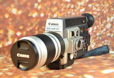 【Working】Canon 1014 Auto Zoom Super 8 Movie Camera Film Tested Ready 2 Use Hood