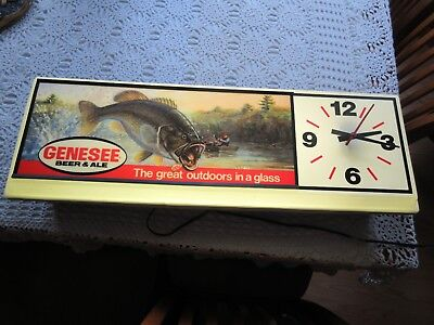 Largemouth Black Bass Genesee Beer Light Clock Rochester NY Man Cave