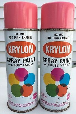 Vintage Krylon Hot Pink Spray Paint Wide Line 2 Cans Very Rare