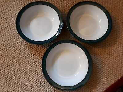 3 Denby Greenwich cereal bowls - 17cm diameter, Good condition