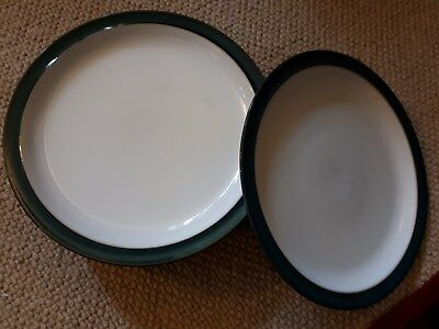 Seven Denby Greenwich Dinner plates - good condition
