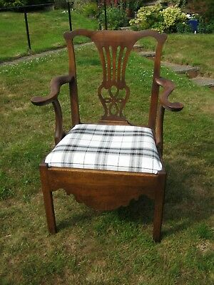 Georgian Chippendale Style Mahogany VERY LARGE Open Arm Chair with Drop in Seat