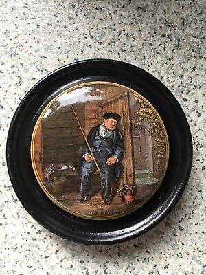 Prattware Pot Lid 'On Guard' In A Black Frame