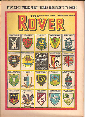 THE ROVER,No.1445,MARCH 7th,1953:SCHOOL BADGES COVER:'RETURN FROM MARS' STORY