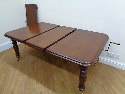 Large Extending Solid Mahogany Dining Table Antique Victorian Wind-Out Style