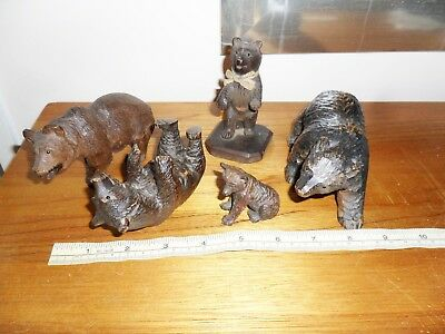 5 Black Forest Bears Cared Wood