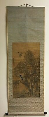 Antique Chinese Scroll Painting Of Insects And Trees Signed