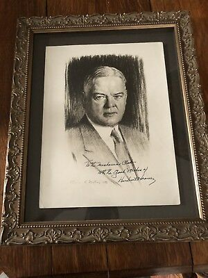 President Hoover Authentic Signed Portrait