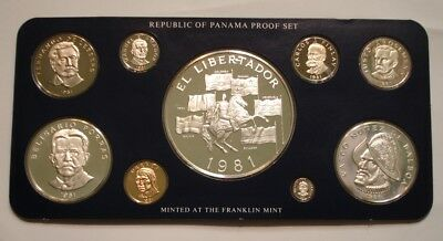 1981 PROOF SET of Panama superb Gem in Holder of Issue w/ COA 3 Silver Coin