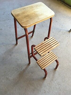 Vintage Stool / 1950's Kitchen Steps ~ Steel & Wood ~ Great Patina