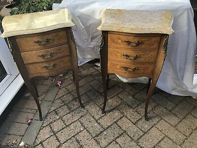 French Kingwood Marble Top Bombe Shape Bedside Cabinets