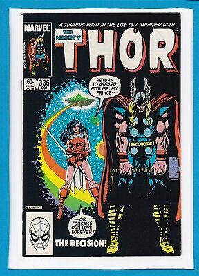 """Mighty Thor #336_October 1983_Near Mint Minus_Captain Ultra_Sif_""""the Decision""""!"""
