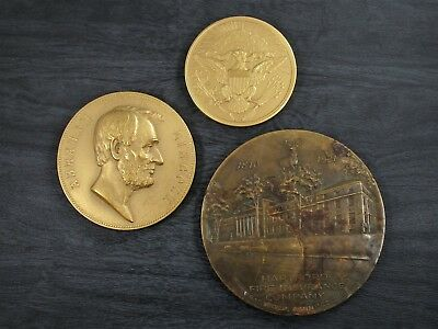 Large Brass Medallion Lot of 3 Vintage Detailed Commemorative Medals 655.3 g