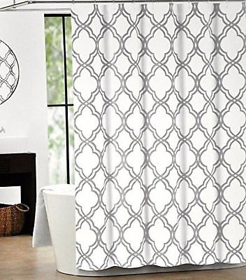 Home Polyester Shower Curtain Moroccan Tile Quatrefoil Gray and White Lattice...