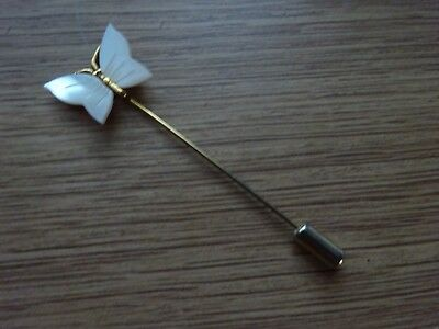 Beautiful Vintage Mother Of Pearl Butterfly Stick Pin