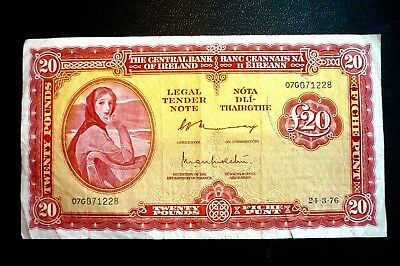 IRELAND Lady Lavery (£20.00) TWENTY POUNDS (PUNT) BANKNOTE ~ Dated 24-3-76