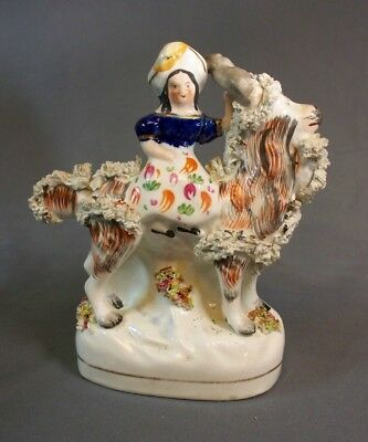 "Staffordshire Figure Young Lady Riding A Goat 4 3/4"" Long"