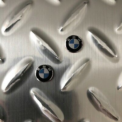 New - 2x BMW™ White & Blue Metal Key Fob Remote Emblem Badge Sticker Logo 11mm