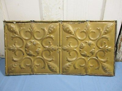 "Antique Ornate Tin Ceiling, 24"" x 12"" w/ Mustard Color, Nice Overall Condition"
