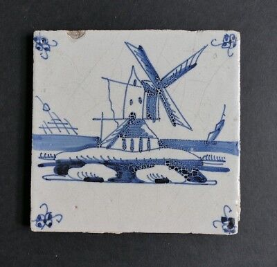 Late 17th/early 18th century Dutch delft tile - Windmill (c.1680-1720)