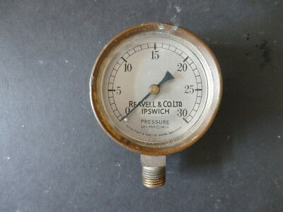 """Vintage brass pressure gauge 2.5"""" face - up to 30lbs/in2 - Reavell & Co Ipswich"""