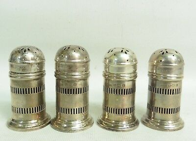 Set Of 4 Geo V Sterling Silver Pepper Pots By Gorham Manufacturing Co H/m B.1921