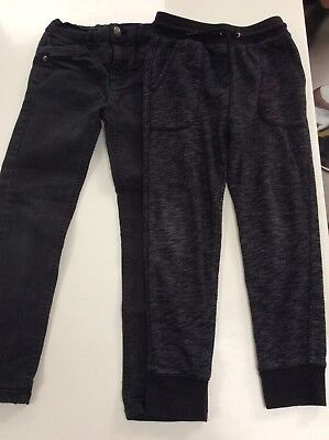 Boys X2 Items Jeans + Black / Grey Tracksuit Jogging Bottoms 8 8-9 Years