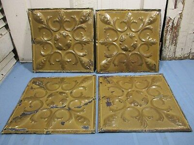 "4 Antique Ornate Tin Ceiling Pieces, 12"" x 12"" w/ Fabulous Mustard Color"