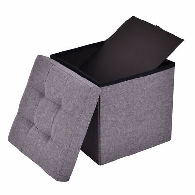 Awesome Folding Storage Ottoman Cube Faux Leather Box Brown 12 Foot Alphanode Cool Chair Designs And Ideas Alphanodeonline