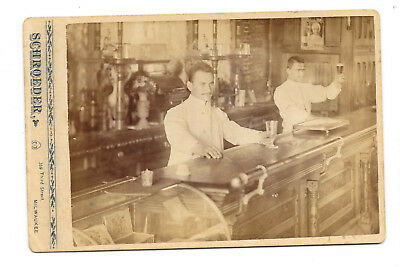 Old Antique Cabinet Photo, Pre-Prohibition Milwaukee, Wisconsin Bar/Saloon Photo