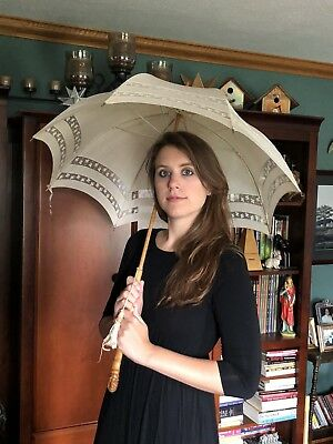 Antique Bamboo Handle Sun Parasol Umbrella With Clover Shamrock Detail