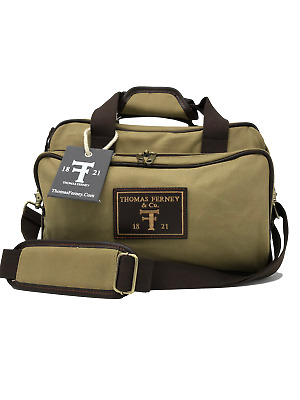 Shooting Range Bag - Waxed Canvas and Genuine Leather - By Thomas Ferney