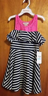 JUICY COUTURE Girls Pink and Blue/White Stripped Dress (Sizes 5 & 6 available)