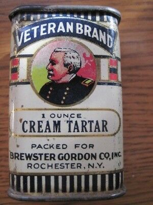 Old Veteran Brand Spice Tin Neat Small Size All Tin Litho