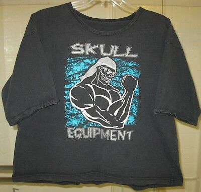 Vintage Skull equipment print muscle beach cotton T-shirt for men one size