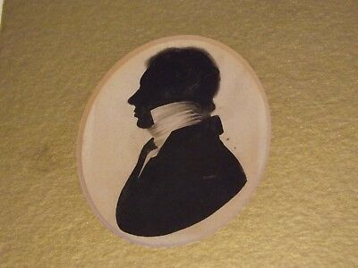 Silhouette portrait painting of a  gentleman antique 19th century