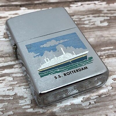 1974 Vintage Zippo Lighter - S.S. Rotterdam Ocean Liner - Cruise Ship - Unfired
