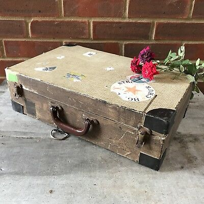 Antique Briefcase Suitcase Travelling Bag Beige Picnic Box Coracle England