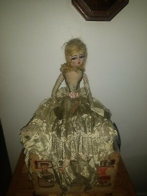 Antique French Boudoir Victorian Girl Velvet Doll Poupee De Salon Art Deco