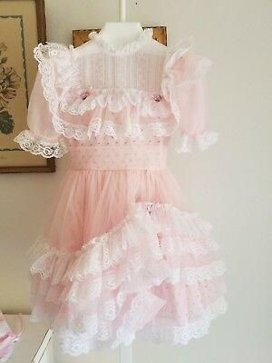 VINTAGE Pink Frilly RUFFLED Sheer GIRLS DRESS, PARTY, PAGEANT Full Circle Sz 3/4